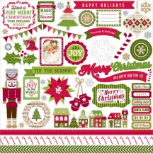 """Echo Park Home For The Holidays 12""""x12"""" Element Shape Stickers HFH73014"""