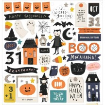 "Crate Paper Hey Pumpkin Halloween 12""x12"" Self Adhesive Chipboard Accents 350885"