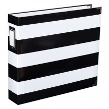 "Becky Higgins Project Life Heidi Swapp Black & White Stripe D-Ring 12""x12"" Scrapbooking Album 98183"