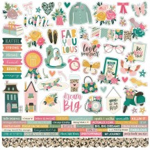 "Simple Stories I Am 12""x12"" Combo Element & Word Stickers 12401"