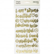 Simple Stories I Am Gold Foil Foam Phrase Stickers 12422