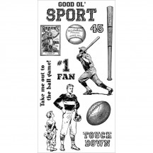Graphic 45 Good Ol' Sport #1 Rubber Cling Stamps by Hampton Art IC0299