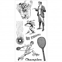 Graphic 45 Good Ol' Sport #3 Rubber Cling Stamps by Hampton Art IC0301