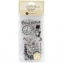 Graphic 45 Time To Celebrate 1 Rubber Cling Stamps by Hampton Art IC0317