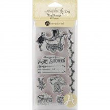 Graphic 45 Precious Memories 2 Rubber Cling Stamps by Hampton Art IC0330