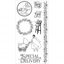 Graphic 45 Precious Memories 3 Rubber Cling Stamps by Hampton Art IC0331