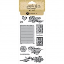 Graphic 45 Mon Amour 2 Rubber Cling Stamps by Hampton Art IC0345