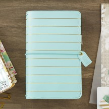 Webster's Pages Ice Blue With Gold Stripe Travelers Color Crush Planner