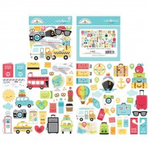 Doodlebug I Heart Travel Odds & Ends Die-Cut Cardstock Ephemera 6371