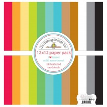 "Doodlebug I Heart Travel Solid Textured 12""x12"" Cardstock Assortment 6429"