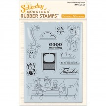 October Afternoon Saturday Mornings Repositionable Cling Stamps - Image Set ST-1339