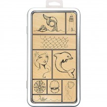 Jane Davenport Mixed Media Tin Of Mermaids Wood Mounted Rubber Stamps JD007