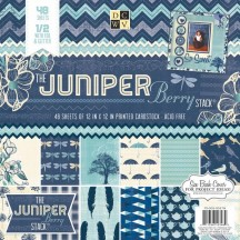 "DCWV Juniper Berry 12""x12"" Designer Paper Stack with foil & glitter - 48 sheets"