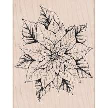 Hero Arts Antique Poinsettia Wood Mounted Christmas Rubber Stamp K6176
