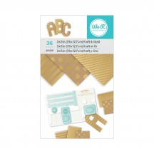 """We R Memory Keepers 3""""x5"""" ABC Paper Pad 36 Sheets - Kraft & Gold 660891"""