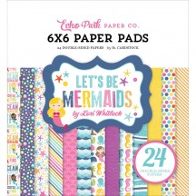 "Echo Park Let's Be Mermaids 6""x6"" Double-Sided Paper Pad 24 Sheets LBM110023"