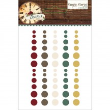 Simple Stories Legacy Enamel Dots - grey, brown, green, maroon 5731