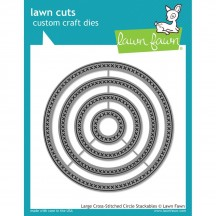 Lawn Fawn Cuts Large Cross-Stitched Circles Universal Custom Craft Cutting Dies LF1180