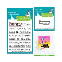 Lawn Fawn Happy Happy Happy Add-on: Family Clear Stamp & Die Set LF1585 LF1586