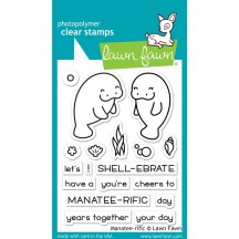 """Lawn Fawn Manatee-rific 3""""x4"""" Clear Stamps LF1688"""