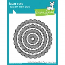 Lawn Fawn Cuts Stitched Scalloped Circle Frames Universal Craft Cutting Dies LF1718