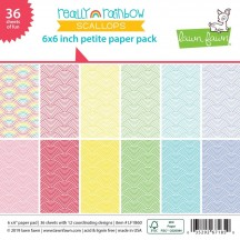 "Lawn Fawn Really Rainbow Scallops 6""x6"" Petite Paper Pack 36 Sheets LF1860"