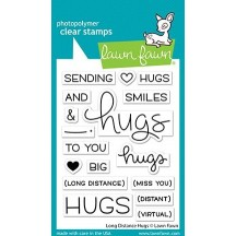 Lawn Fawn Long Distance Hugs Clear Stamp & Cutting Die Set LF2510 LF2511