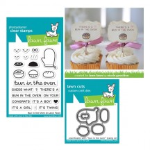 "Lawn Fawn Bun In The Oven 3""x4"" Clear Stamps & Cutting Die Set LF1317 LF1318"