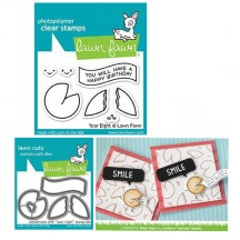 Lawn Fawn Year Eight Fortune Cookie Clear Stamps & Cutting Die Set LF1605 LF1606