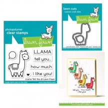 Lawn Fawn Llama Tell You Clear Stamp & Cutting Die Set LF1678 LF1679