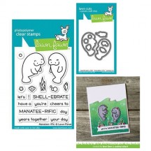 "Lawn Fawn Manatee-rific 3""x4"" Clear Stamps & Cutting Die Set LF1688 LF1689"