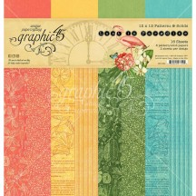 "Graphic 45 Lost in Paradise Patterns & Solids 12""x12"" Paper Pad 16 sheets 4501894"