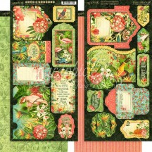 Graphic 45 Lost in Paradise Double-Sided Cardstock Tags and Pockets 4501898