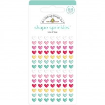 Doodlebug Love Notes Lots of Love Tiny Hearts Sprinkles Enamel Shapes 6574