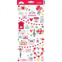 "Doodlebug Love Notes 6""x12"" Icons Cardstock Stickers 6606"