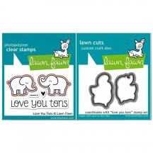 Lawn Fawn Love You Tons Clear Stamps & Cutting Die Set LF598 LF600
