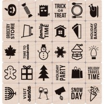 Hero Arts Clearly Kelly Holiday Planner Icons Wood Mounted Rubber Stamp Set LP391