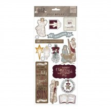 "Photoplay Luke 2 6""x12"" Adhesive Christmas Chipboard Stickers LT2346"