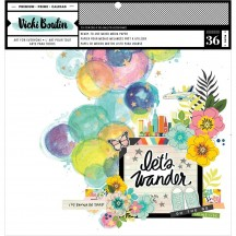 "American Crafts Vicki Boutin Let's Wander Mixed Media Backgrounds 12""x12"" Paper Pad 355331"