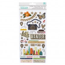 American Crafts Vicki Boutin Let's Wander Chipboard Phrase & Element Thickers 355334