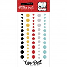 Echo Park Magical Adventure Glitter Enamel Dots - black, red, silver, gold MA109029