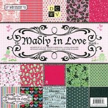 "DCWV Designer Glitter Cardstock Stack 12""x12"" - Madly in Love 48 sheets"