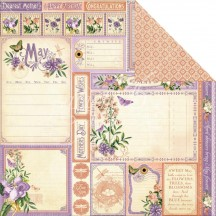 """Graphic 45 Time To Flourish Double-sided 12""""x12"""" Open Cardstock - May Cut Aparts 4501037"""