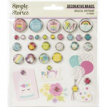 Simple Stories Magical Birthday Glazed Decorative Brads 12925