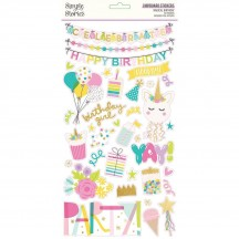 Simple Stories Magical Birthday Self Adhesive Chipboard Shape Stickers 12915