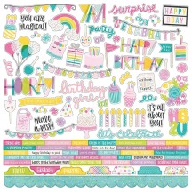 """Simple Stories Magical Birthday 12""""x12"""" Combo Element & Word Stickers 12901"""