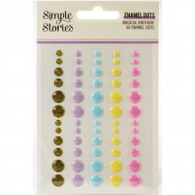Simple Stories Magical Birthday Enamel Dots gold glitter lilac blue yellow pink 12926