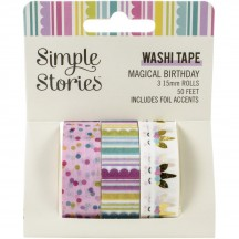 Simple Stories Magical Birthday Washi Tape 3 Roll Pack 12919