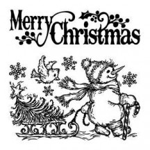 Inkadinkado Rubber Cling Stamps - Merry Christmas Snowman 60-60083