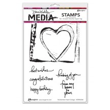 Dina Wakley Media Handwritten Heart Collage Cling Mount Set Collection from Ranger MDR46066